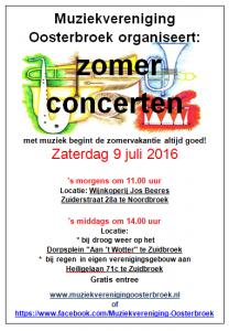 poster zomerconcert 2016 Noordbroek en Zuidbroek